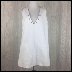 Zara Trafaluc Medium White Sleeveless Dress FLAW